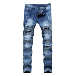 new modern man black ripped jeans NZ - New Fashion Ripped Jeans Men With Holes Denim Super Skinny Famous Slim Fit Jean Pants Scratched Biker Jeans Dropshipping