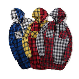 man casual long shirt trends UK - Trend South Korea Ulzzang Men And Women In The Long Style Match Multi-color Tiled Plaid Long-sleeve Shirt Hip Hooded Shirt