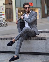$enCountryForm.capitalKeyWord NZ - 2019 Spring Suit Suits Slim Plaid British Suit Three-piece Two Colors Apricot and Gray Plaid. Size:M,L,XL,2XL,3XL