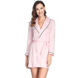 29e32a4c22 Long Sleeve Turn-down Collar Cotton Robes with Belt Women Bathrobe  Sleepwear Dressing gowns Sleep Robe Warm Nightwear Pink Black