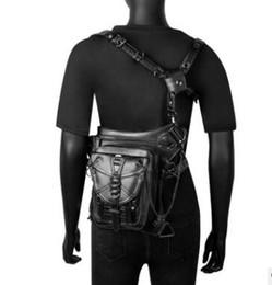 $enCountryForm.capitalKeyWord UK - Steampunk Skull Waist Bag Gothic Retro Leather Fanny Pack Vintage Rock Shoulder Leg Bag Men Women Unisex Holster Bags
