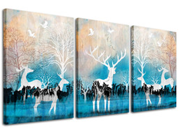 $enCountryForm.capitalKeyWord UK - Deer Canvas Wall Art Forest Elk Picture Art Prints Blue Background 3 Piece Animal Painting for Modern Home Kid Room Decor