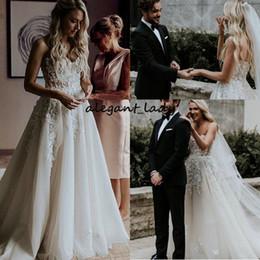 Sexy See Through Corsets Australia - Beach Bridal Dress Lace Appliques Sweetheart See Through Corset Tulle Wedding Dresses 2019 Elegant Abiye Vestidos De Noiva