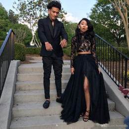 New Black Long Sleeve Prom Dresses 2019 Formal Evening Party Pageant Gowns African Two Pieces Dress High Neck Plus Size Custom Made from elastic satin ivory wedding dresses suppliers