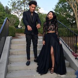 Yeni Siyah Uzun Kollu Gelinlik Modelleri 2019 Örgün Akşam Parti Pageant Törenlerinde Afrika İki Adet Elbise Yüksek Boyun Artı Boyutu Custom Made indirimde