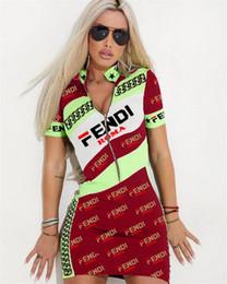 Tight Sport Shorts Women Australia - Summer Women F Letter Dress Short Sleeve Zipper Skirt F F T-shirts Tight Skinny Dress Party Club Bodycon Sports Casual Tracksuit 2019 A4803