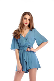 $enCountryForm.capitalKeyWord Australia - 2019 V Neck Blue Sexy Jumpsuit For Women Chiffon Elegant Party Plus Size XXXL Summer Women Jumpsuit