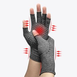 racing hand gloves UK - Grey half-finger unisex gloves anti-stress therapy rheumatic hand pain wrist gloves rest sports safety comfortable gloves