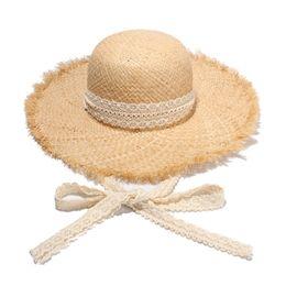 $enCountryForm.capitalKeyWord UK - Fashion Women Foldable Raffia Natural Straw Sun Hat With Lace Ribbon Crunch Wide Brim Hats Summer Solid Caps Sun Protection