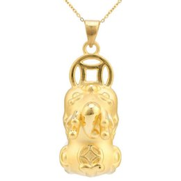 yellow gold lockets UK - 24K Yellow Gold Pendant 3D Yellow Gold Dragon Son Coin Pixiu Baby Necklace Pendant P6211