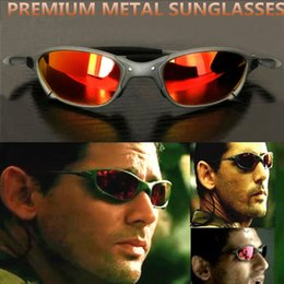 juliet sunglasses UK - Wholesale-Sunglasses X Metal Juliet x Driving Sports Polarized UV400 High quality Sun Glasses for Mens Iridium mirror Fire Ruby Red ice blue