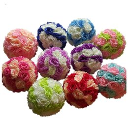 Wholesale Pink Artificial Rose Silk Flower Ball Hanging Kissing Balls cm Ball For Wedding Party Decoration Supplies