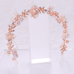 $enCountryForm.capitalKeyWord NZ - Fashion Rose Gold Color Tiara Hair Jewelry Pearl Crystal Flower Headbands Bridal Hairbands Wedding Hair Accessories Party Gifts