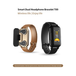headphone control android NZ - T89 BT 5.0 Smart Wireless Dual Headphone Wristband Heart Rate Monitor Multi Sport Mode Remind Smart Watch Wearable Device