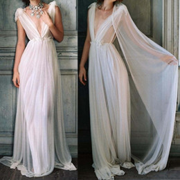 $enCountryForm.capitalKeyWord NZ - Greek Goddess Beach Wedding Dress Backless Plunging Sheer A-Line Simple Bohemian Bride Dresses Elegant Sexy Boho Tulle Summer Bridal Gown