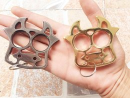 Tigers Gear NZ - outdoor safe boxing protective gear Punch button KNUCKLE DUSTERS GOLD Powerful damage safety equipment self defense rings tiger finger tool