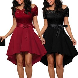 collared mid calf dress UK - Women's temperament elegant boutique sexy lace word collar strapless dress