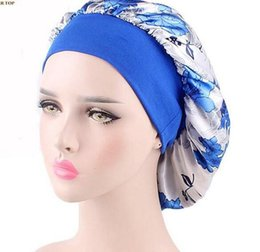 hot spring covers Australia - Wide Band Silk Satin Bonnet Night Sleep Cap Hat by One Planet Hot Floral print Head Cover Bonnet for Beautiful Hair accessories