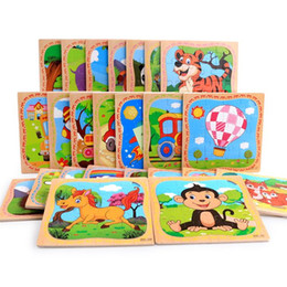 wholesale small toys for easter Australia - Cartoon 16 Slice Small Pieces Puzzle Toy Children Montessori Wooden Puzzle Jigsaw Baby Educational Toys for Kids Gift