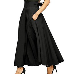 ed8c3d826f Plus Size Xxl New Autumn Winter Women Gray High Waist Pleated Belted Maxi  Skirt Vintage Long Skirts 10 Jul25