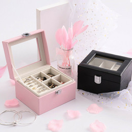Box Jewelry Storage Organizer Black Australia - Women Portable Mini Double-layer PU Leather Jewelry Storage Organizer Case Box