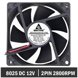 $enCountryForm.capitalKeyWord Australia - 500pcs Gdstime 80x80x25mm 80mm 8cm DC Brushless 12 Volt Sleeve Bearing Computer Case Fan Industry Cooling Radiator Fan