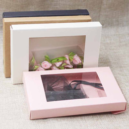 Discount candy boxes pvc - Deluxe multi color paper gift package display box with clear PVC window candy favors arts kraft display package box 30pc