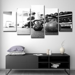 Oil Equipment Australia - 5 Piece Canvas Art Russian Dumbbell Poster Gym Equipment HD Printed Home Decor Wall Art Canvas Painting