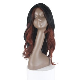 China Fashion Wigs With Bangs High Temperature Wigs For Black Women Loose Wave Long Kanekalon Fiber Synthetic Wavy Hair 26inch 2 Colors HL350# cheap high fashion wigs for black women suppliers