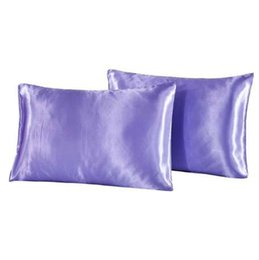 $enCountryForm.capitalKeyWord UK - 2pcs lot Purple Color Pillow Case Cover Solid Colors Pillowcase Covers 100% Polyester Pillowcases USA Twin Queen Size XF512