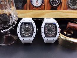 Venta al por mayor de Fábrica Nuevo Hombre Reloj Maquinaria Automática RM-022 42x50mm Cubo Cáscara Diseño 316L Acero Zafiro Cinta de Espejo de Cristal Completa Blanco