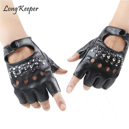 Rivets leatheR gloves online shopping - Long Keeper Sexy Gloves For Women Metal Rivets Party Show Leather Gloves Female Fitness Half Finger Gloves Mittens Star