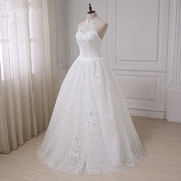 $enCountryForm.capitalKeyWord Australia - Cute Country Wedding Dresses Lace Princess Ball Gown Custom Crystals Halter Bridal Dress Floor Length White Lace Appliques Wedding Gowns