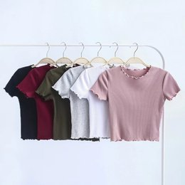 Tight Fitted Tees NZ - Wood ears O neck Short sleeve T-shirt 2019 New Woman Slim Fit t shirt tight tee Summer Retro Tops 6 colors