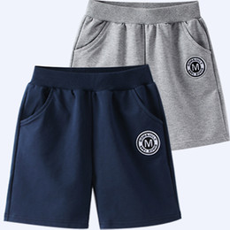 Pants big Pockets online shopping - Children Casual Sports Shorts Middle Big Large Boys clothes Cotton Five pants Grey Navy Summer Cheap Free DHL