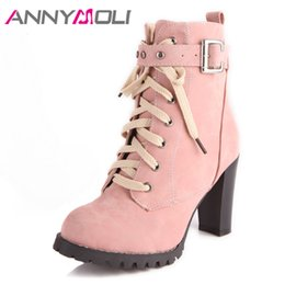 female big boots Australia - ANNYMOLI Winter Women Shoes Female Boots Lace Up Block Heel Ankle Boots Buckle Extreme High Heel Short Boots Ladies Big Size 43 T200425