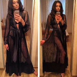 Long sLeeve robes Lingerie online shopping - Women Sexy Long Silk Kimono Dressing Gown Bath Robe Babydoll Lingerie Nightdress Ladies Sexy Hot Nightwear Robes