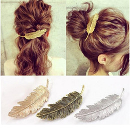 $enCountryForm.capitalKeyWord Australia - Fashion Women Gold Silver Leaf Feather Hair Clip Hairpin Barrette Bobby Pin Hair Styling Tools Ornament Hair accessories 3 Colors