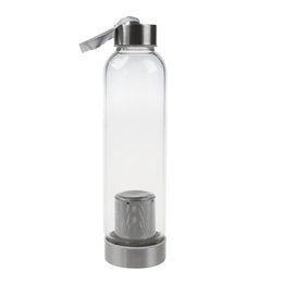 Protective covers warmer online shopping - Glass Sport Water Bottle With Tea Filter Infuser Protective Bag ml C19041601