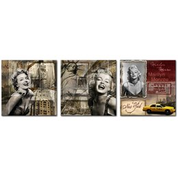 Discount marilyn monroe sexy painting - 3 Panel Canvas Prints Wall Art Marilyn Monroe Antique Style Beautiful Sexy Women for Abstract Artwork Living Room Home D