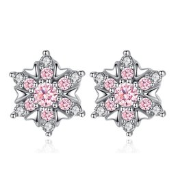 snow white crystal NZ - 925 Sterling Silver Fashion Snow Flower Ladies Shiny Crystal Stud Earrings Jewelry Birthday Gift Wholesale White Gold Plated