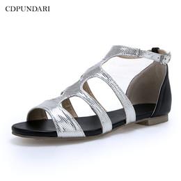 Ladies Flat Silver Shoes NZ - CDPUNDARI Gold Silver flat sandals for women Summer shoes ladies sandals flat chaussures femme ete 2019 sandalias mujer