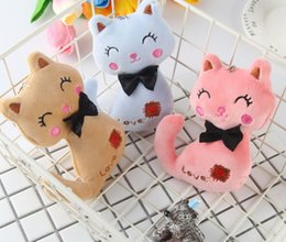 Soft Toy Bouquets Wholesale Australia - 3Colors Little Size 12CM NEW Cat Plush Animal Stuffed Kitty Cat Key chain TOY Kids Party Plush TOY Bouquet Plush Dolls