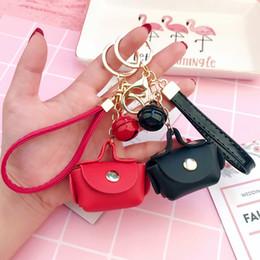 House Plates Australia - Cute Small Red Black HandBag Purse Key Chain Bag Pendant Ring House Car Leather Key Holder Travel Souvenirs Gift