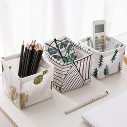 $enCountryForm.capitalKeyWord NZ - Desktop Storage Basket Cotton Linen Sundries Storage Box Makeup Bag Striped Pine Cactus Printed Organizer Case #EP