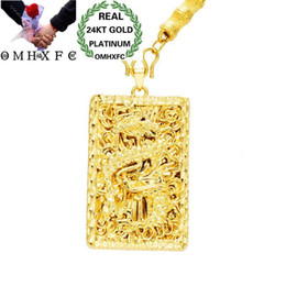 $enCountryForm.capitalKeyWord Australia - Mhxfc Wholesale European Fashion Man Male Party Wedding Gift Vintage Dragon Rectangle Real 18kt Gold Pendant Necklace Nl171 Y19052301