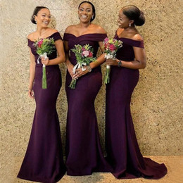 mermaid style chiffon bridesmaid dresses Australia - Dark Purple Plus Size Bridesmaid Dresses For Black Girls Saudi Arabic Mermaid Style Satin Wedding Guest Dress Maid Of Honor Gowns