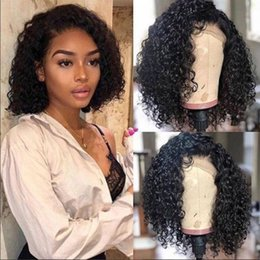 Short Full Lace Human Hair Afro Canada - Short Curly 13x6 Lace Front Human Hair Wigs Pre Plucked With Baby Hair Brazilian Remy Hair Bob Full Lace Wigs For Black Women lacefront wig