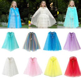 14 Styles Baby Hooded Cloak Cloak Sequin Cape Kids Cosplay Costume Children Cartoon Capes Princess Veil Birthday Party Halloween Poncho on Sale