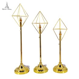 Led candLe wedding centerpiece online shopping - 2sets Wedding Centerpiece Gold Metal LED Candle Holder for wedding party decoration